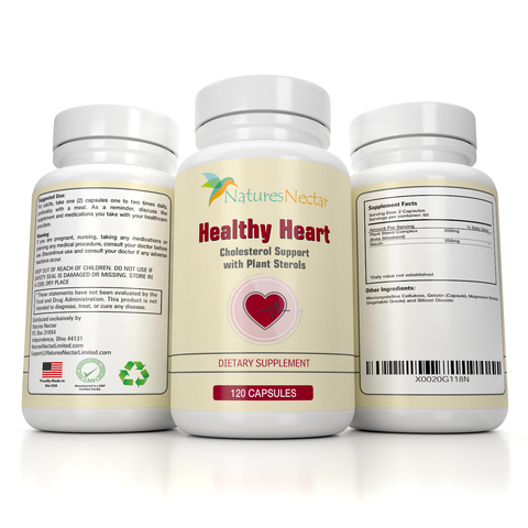 Image of HEALTHY HEART Cholesterol Lowering Supplement. Plant Sterol Complex supplement with Beta Sitosterol and Niacin.