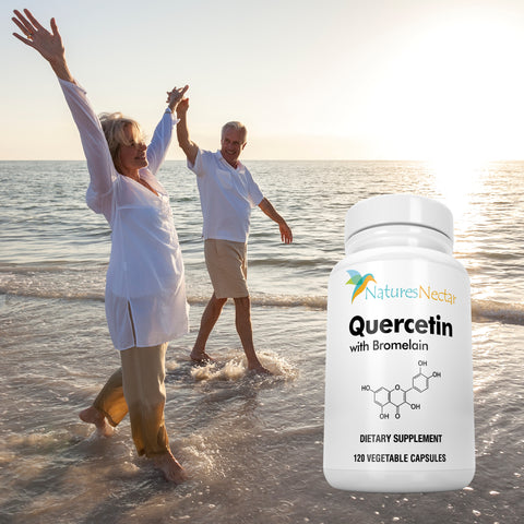 Image of Quercetin with Bromelain Supplements - Quercetin 500mg with 100mg Bromelain per capsule