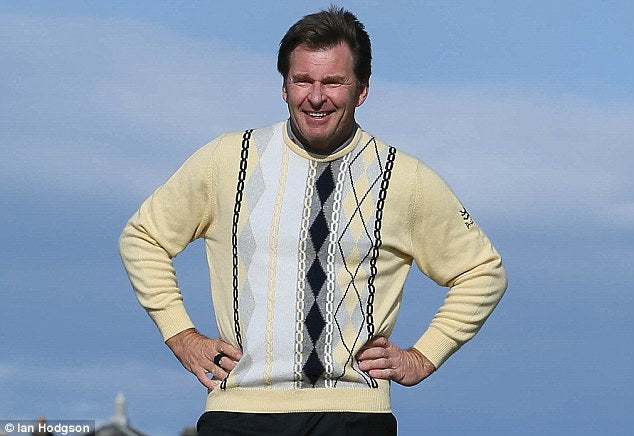nick faldo on the golf course in a pringle of scotland yellow argyle jumper
