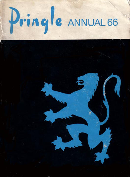 The pringle of scotland striker lion motif in blue against a black background