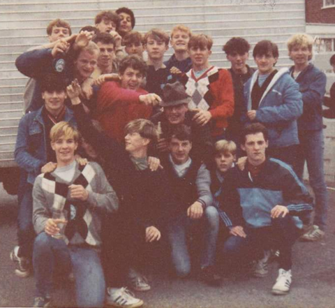 casuals wearing a variety of diamond argyle jumpers during the 80s