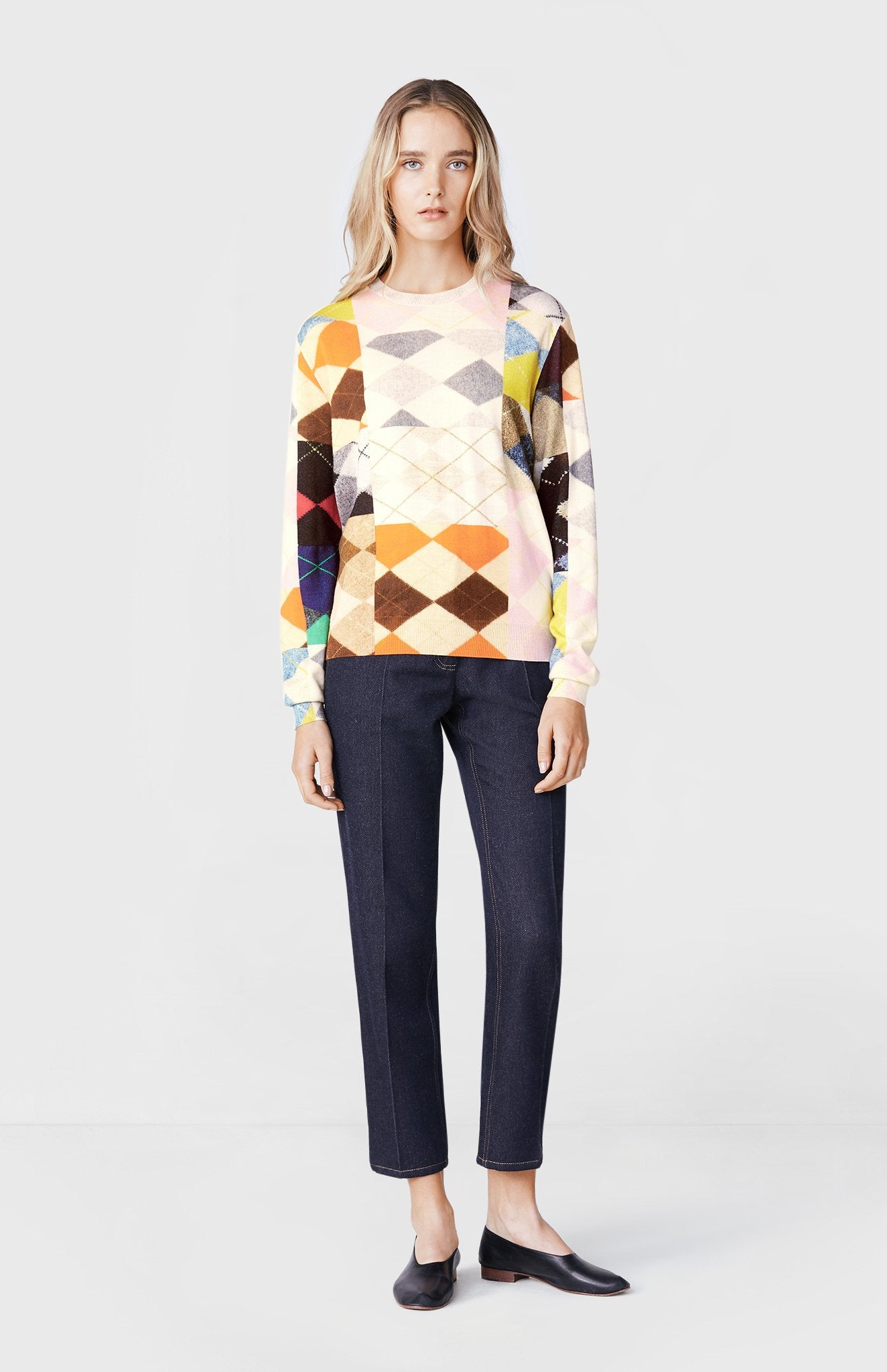 Pringle of Scotland x Lucy Orta Patchwork Argyle Jumper