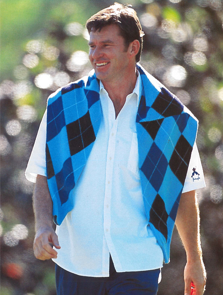 Nick faldo for pringle of scotland wearing an argyle jumper draped over his shoulders