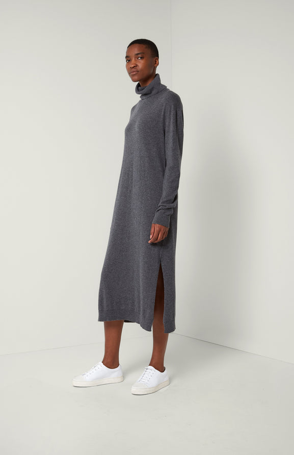 Roll Neck Cashmere Dress In Grey