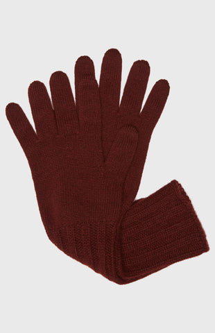 Women's Scottish Cashmere Gloves In Burgundy