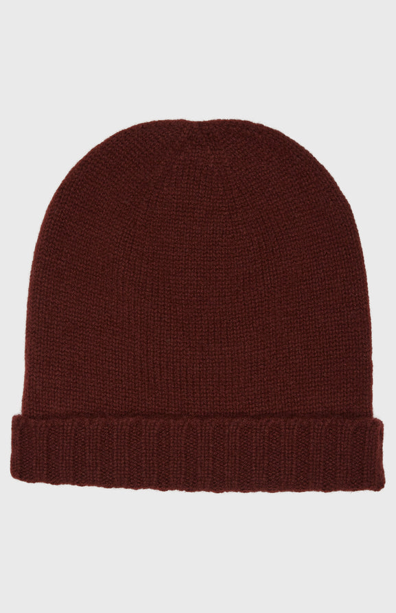 Women's Scottish Cashmere Beanie In Burgundy