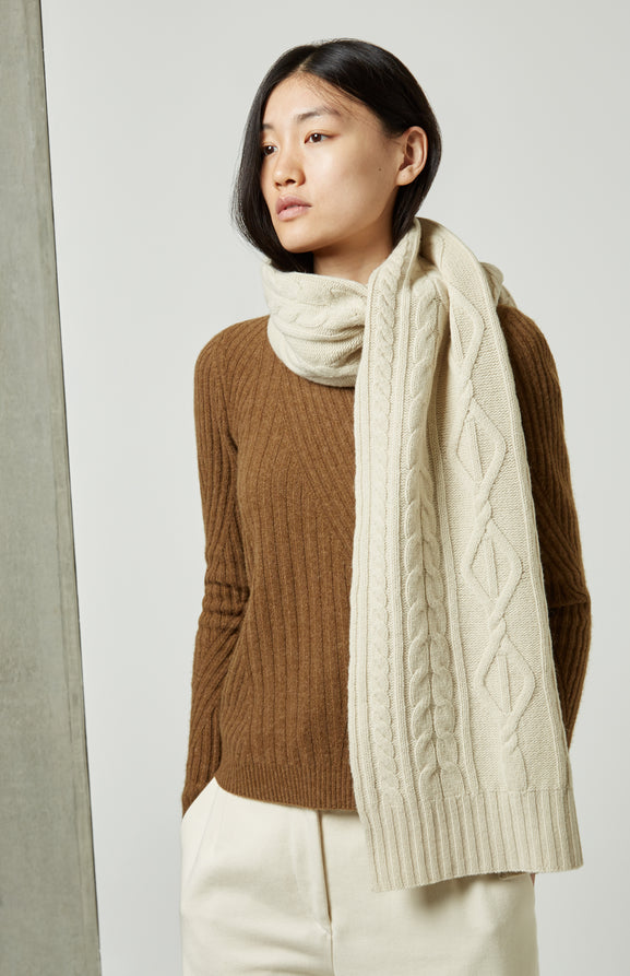 Traditional Cable Stitch Scarf In Cream