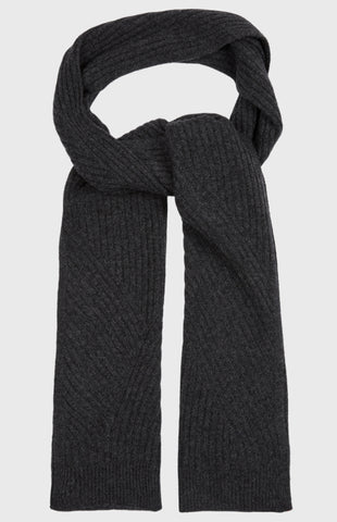 Travel Rib Scarf In Charcoal