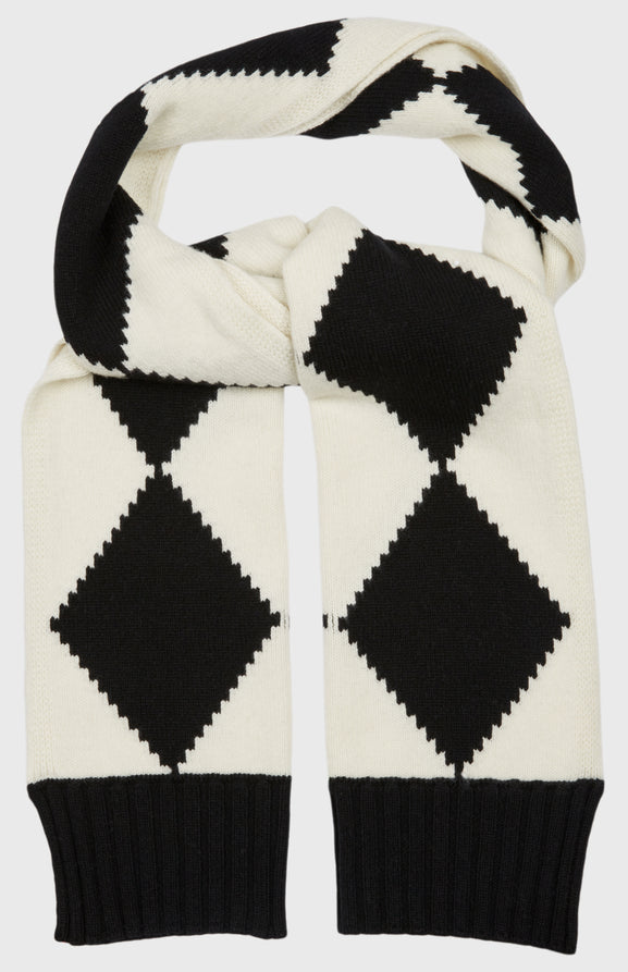 Graphic Argyle Scarf In Black/Cream