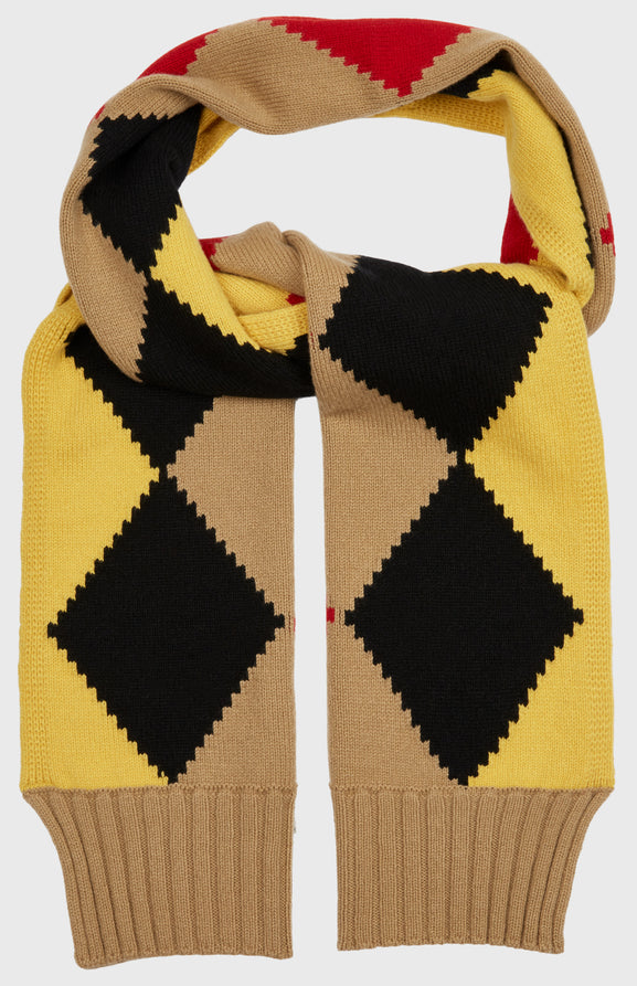 Graphic Argyle Scarf In Camel