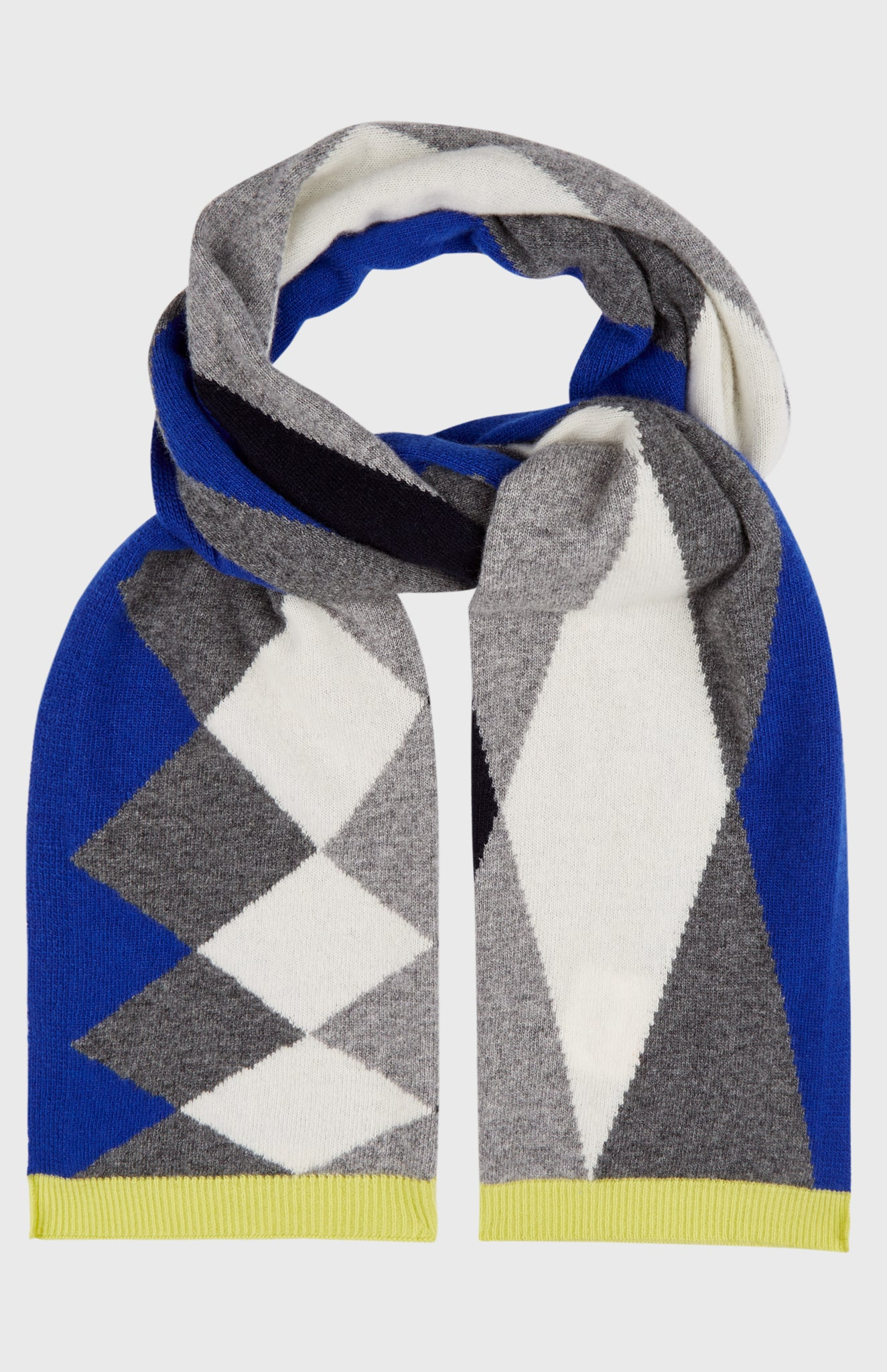 Graphic Argyle Scarf In Bright Blue