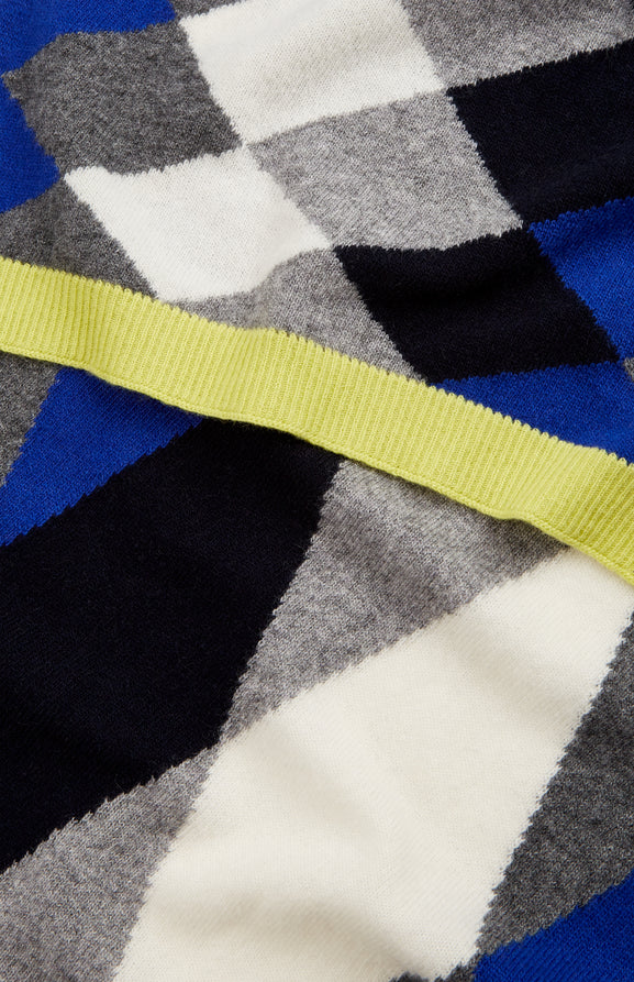 Cashmere Blend Graphic Argyle Scarf In Bright Blue