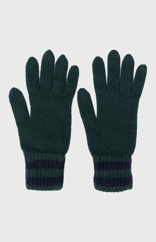 Cashmere Tuck Stitch Gloves In Evergreen