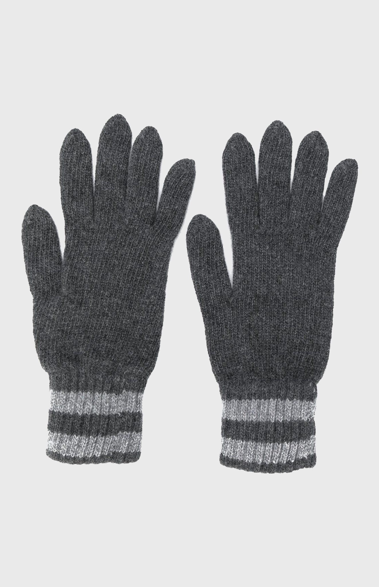 Cashmere Tuck Stitch Gloves In Graphite