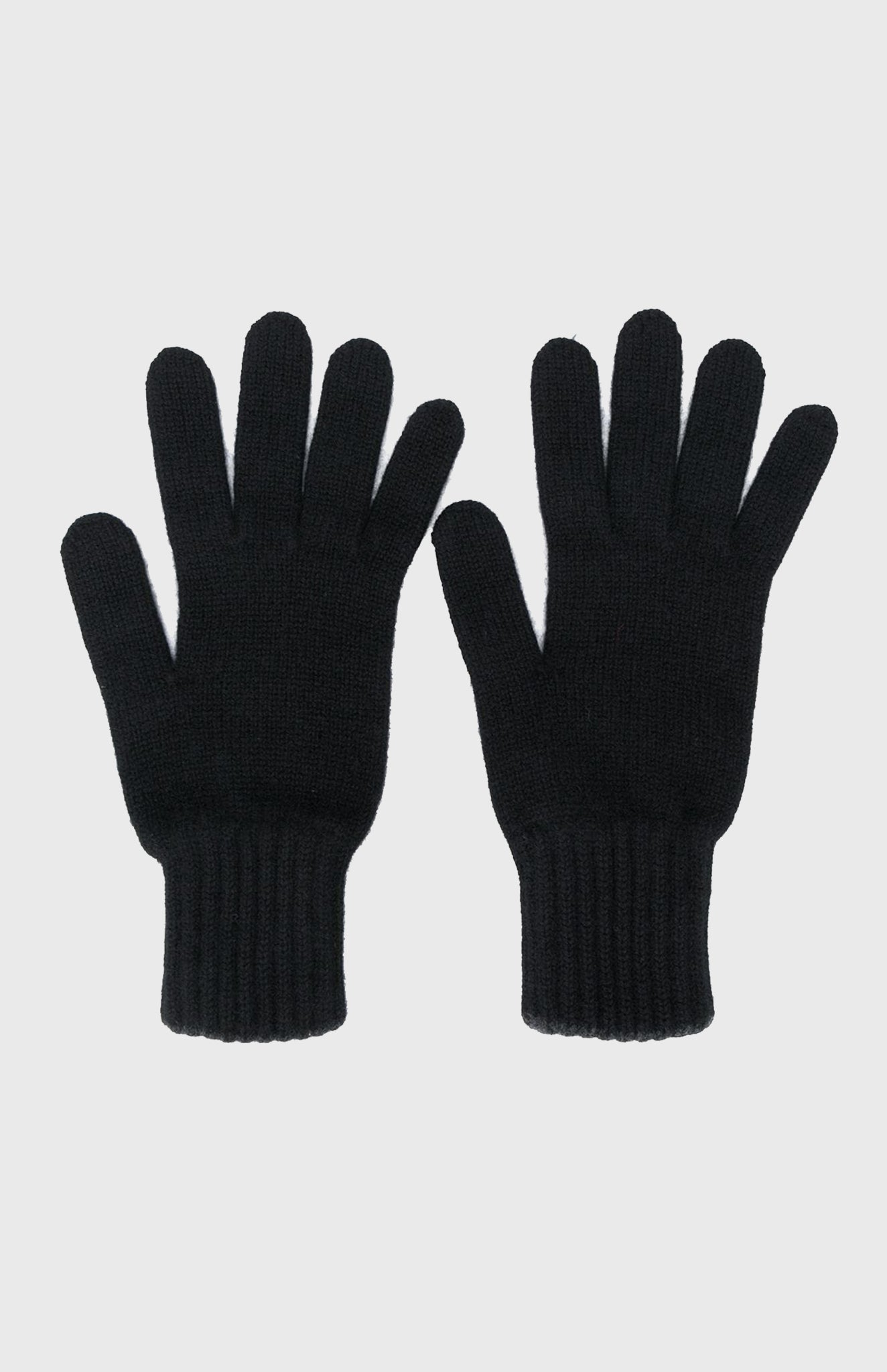 Cashmere Contrast Cuff Gloves In Black
