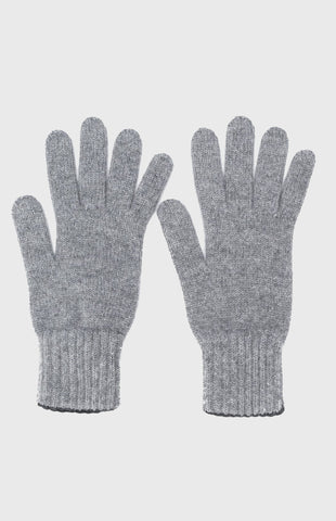 Cashmere Contrast Cuff Gloves In Flannel Grey