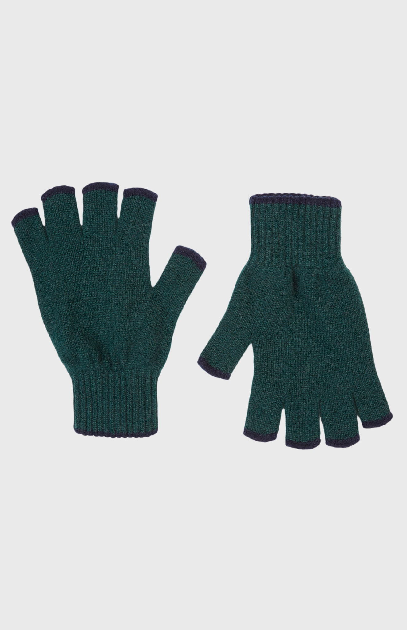 Men's Cashmere Fingerless Gloves In Evergreen