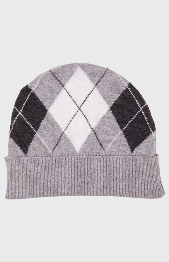Men's Argyle Intarsia Beanie In Grey