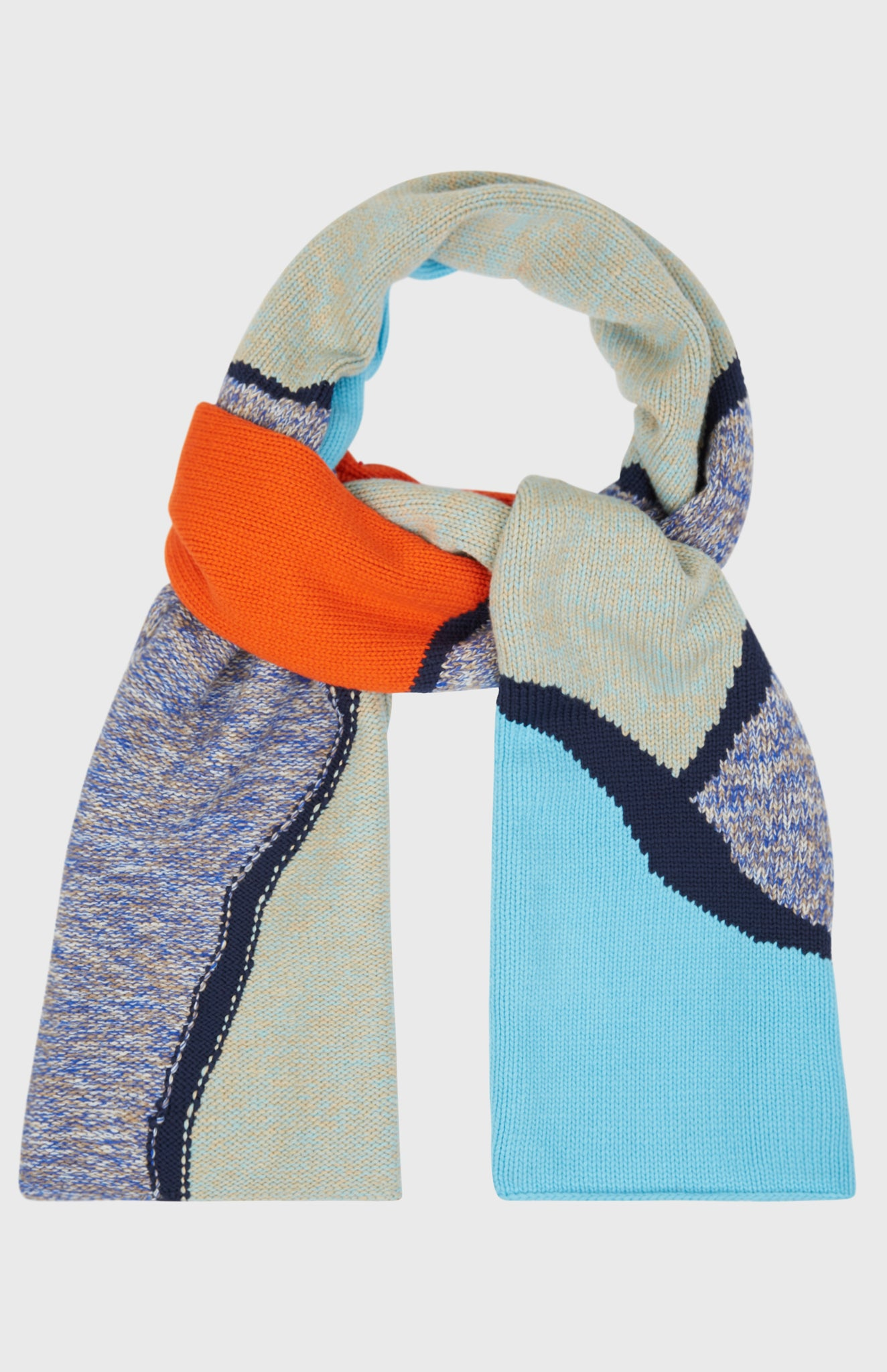 Handknitted Reflections Scarf In Sage Green/Pool Blue