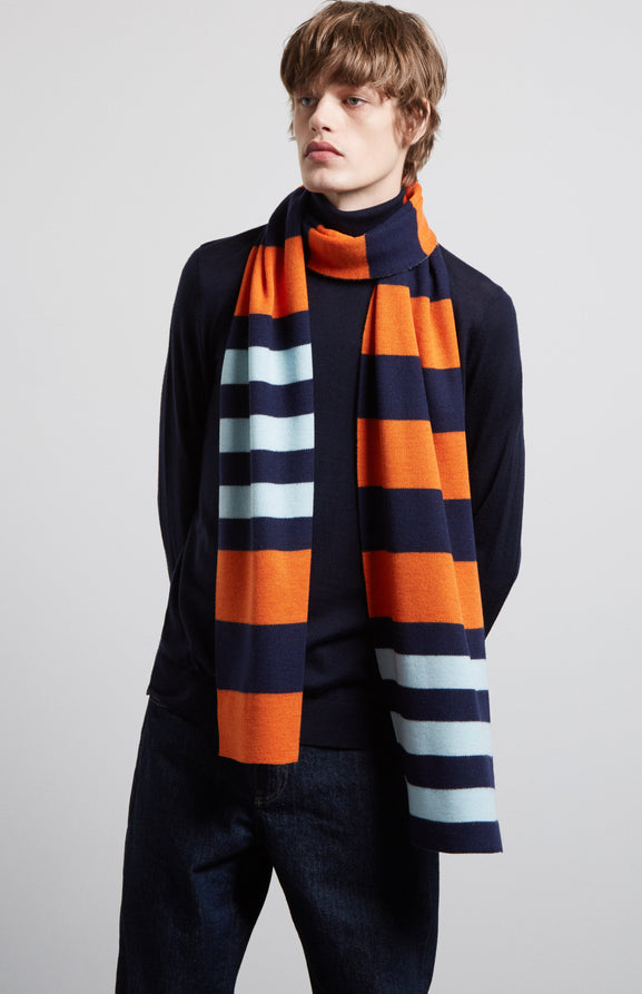 Rugby Stripe Scarf In Tangerine/Ink