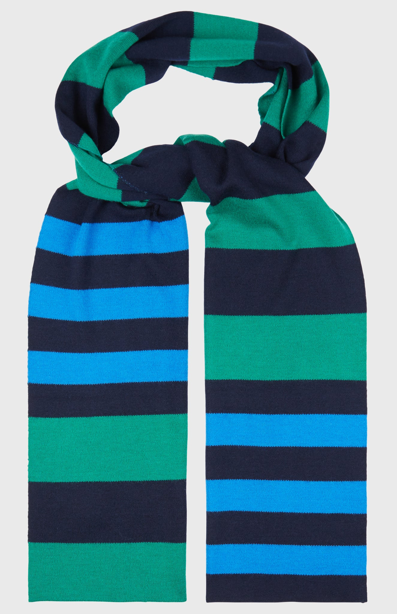 Merino Rugby Stripe Scarf In Grass/Ink