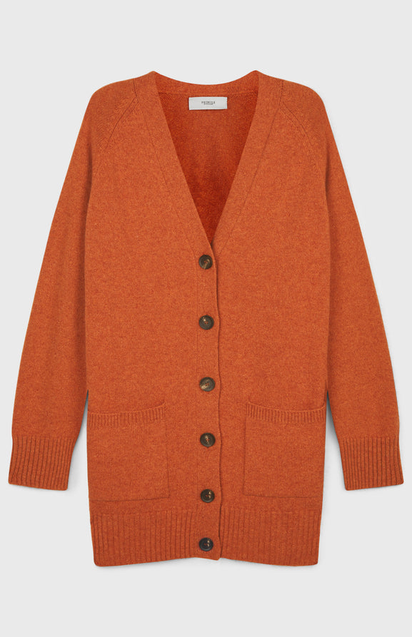 Cosy Cashmere Cardigan In Rust