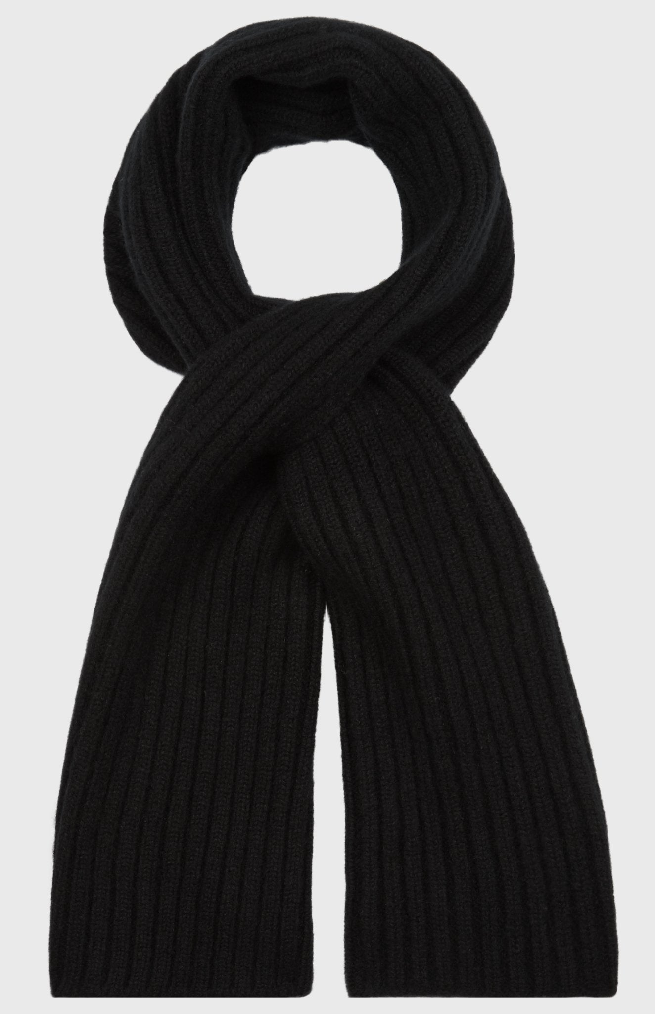 Cross Over Cashmere Scarf In Black
