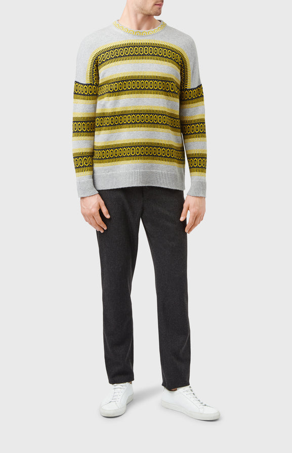 Fair Isle Cashmere Jumper In Shale Grey