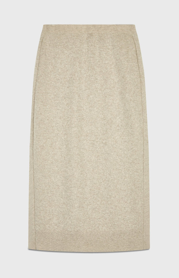 Long Cashmere Skirt in Light Beige