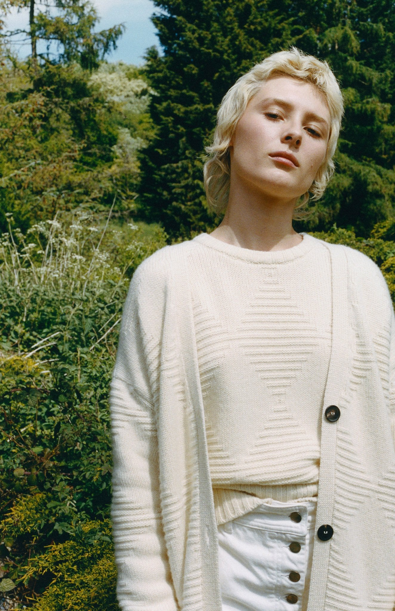 Cosy Cashmere Diamond Jumper In Cream