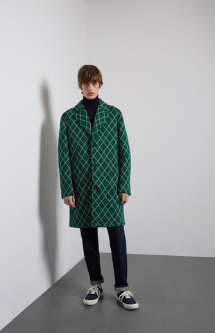 Prince Of Argyle Check Coat In Green/Navy