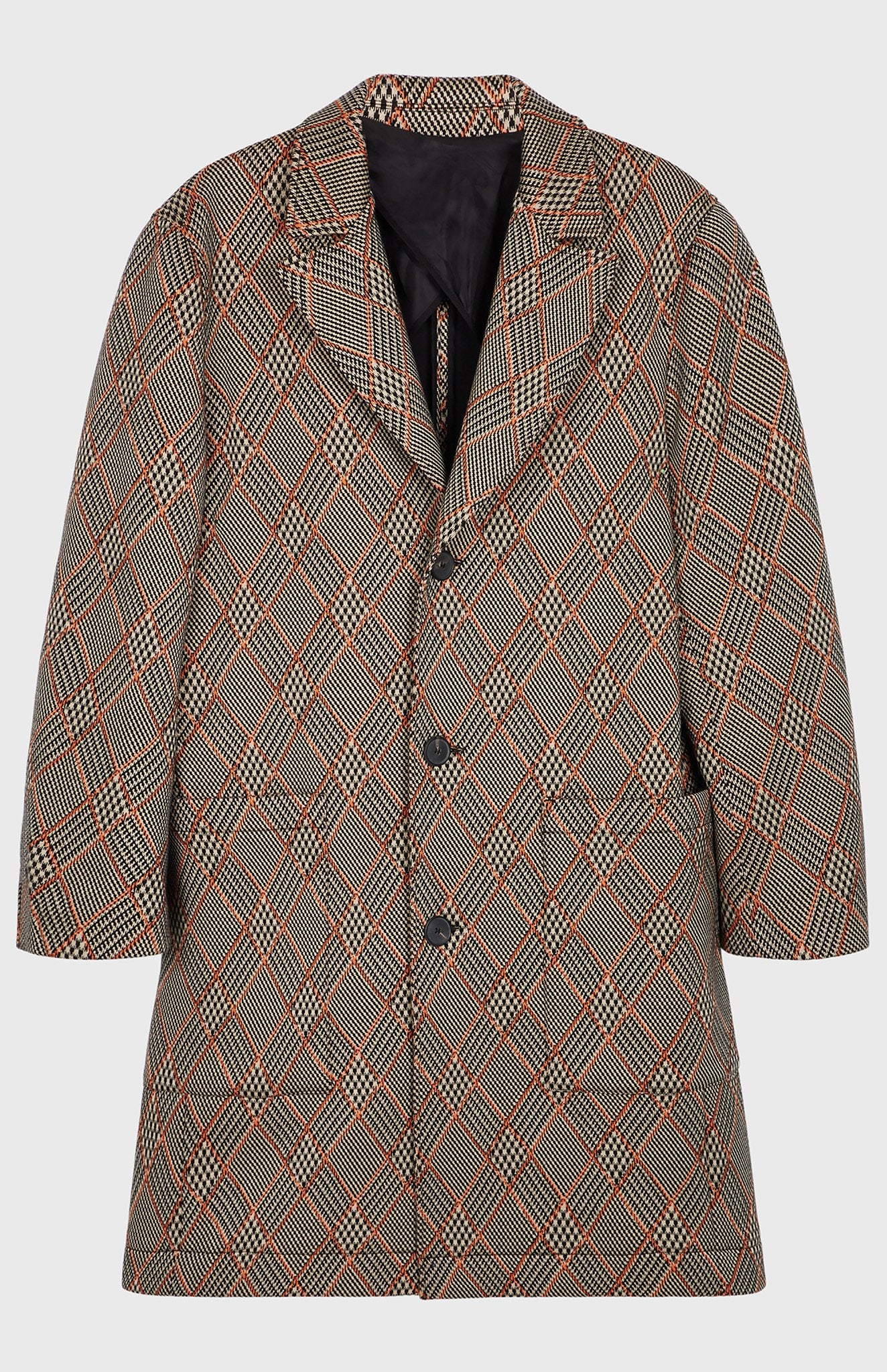Prince Of Argyle Check Coat In Sand/Tangerine