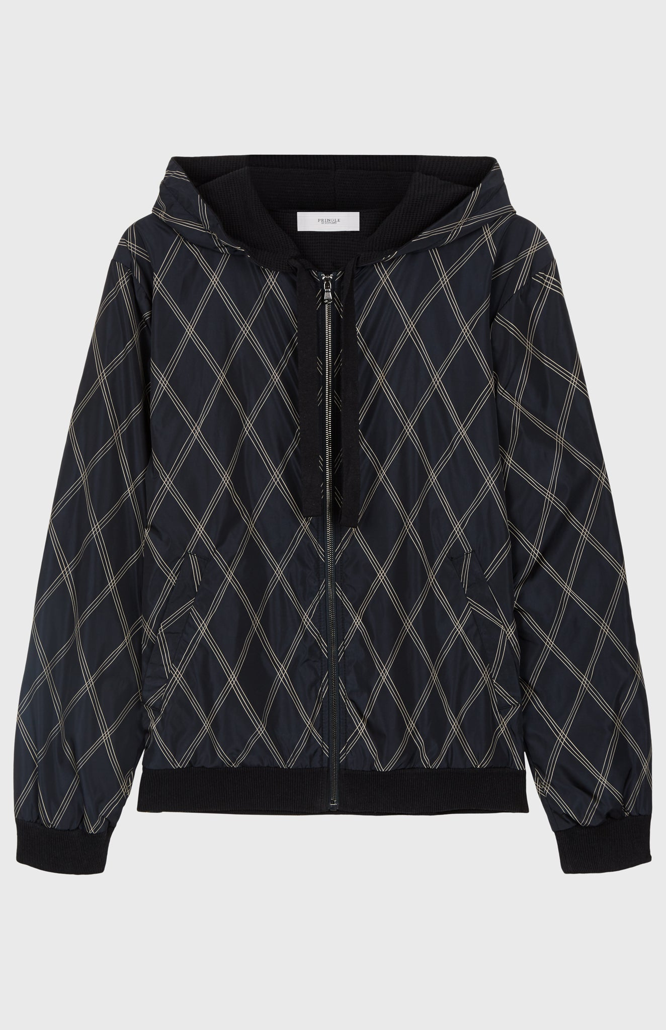 Linear Argyle Hoodie In Ink/Black