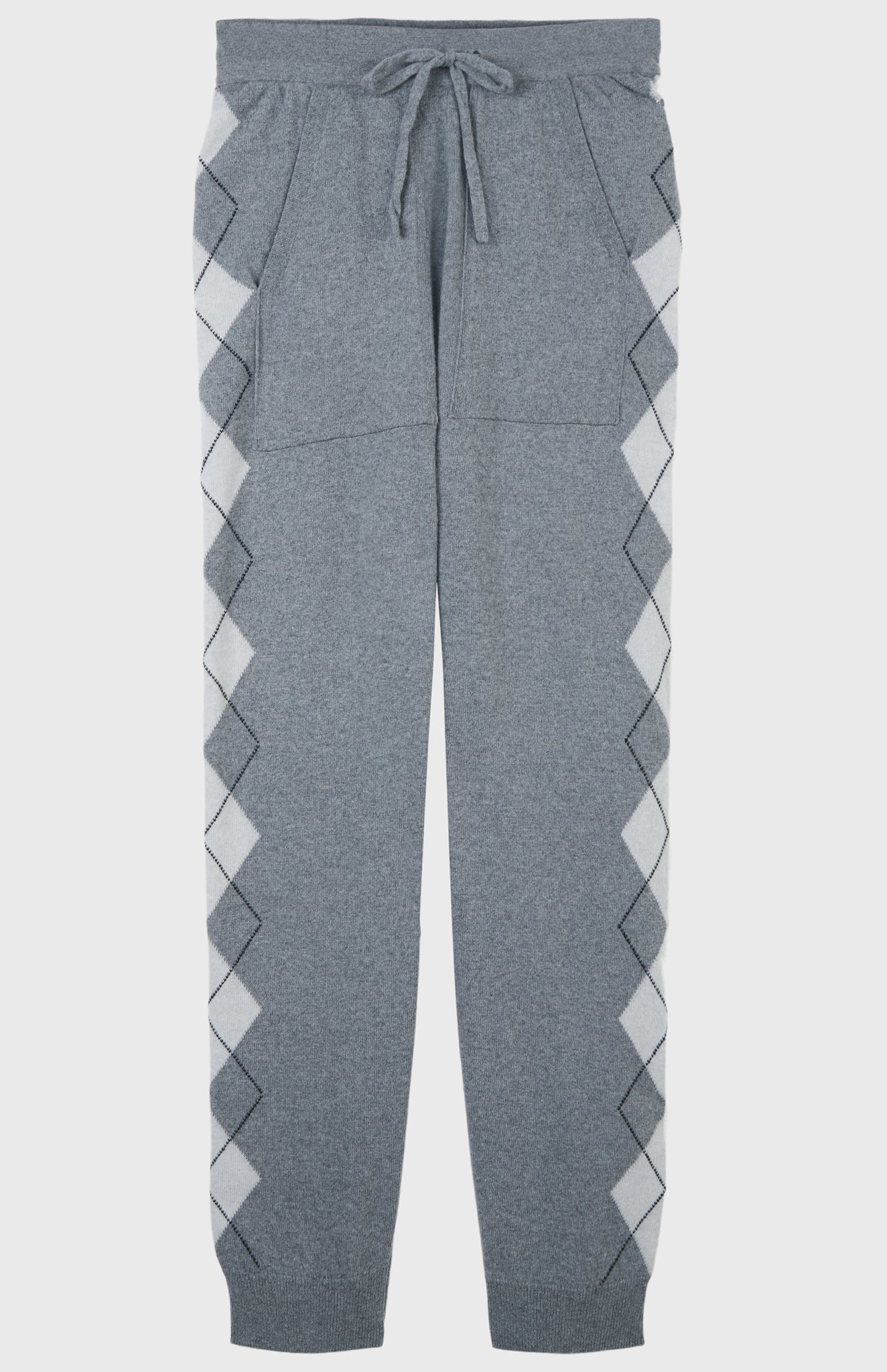 Relaxed Argyle Stripe Trousers In Flannel Grey