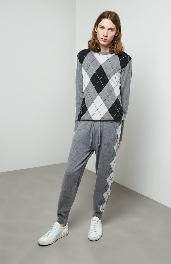 Argyle Stripe Merino Trousers In Grey