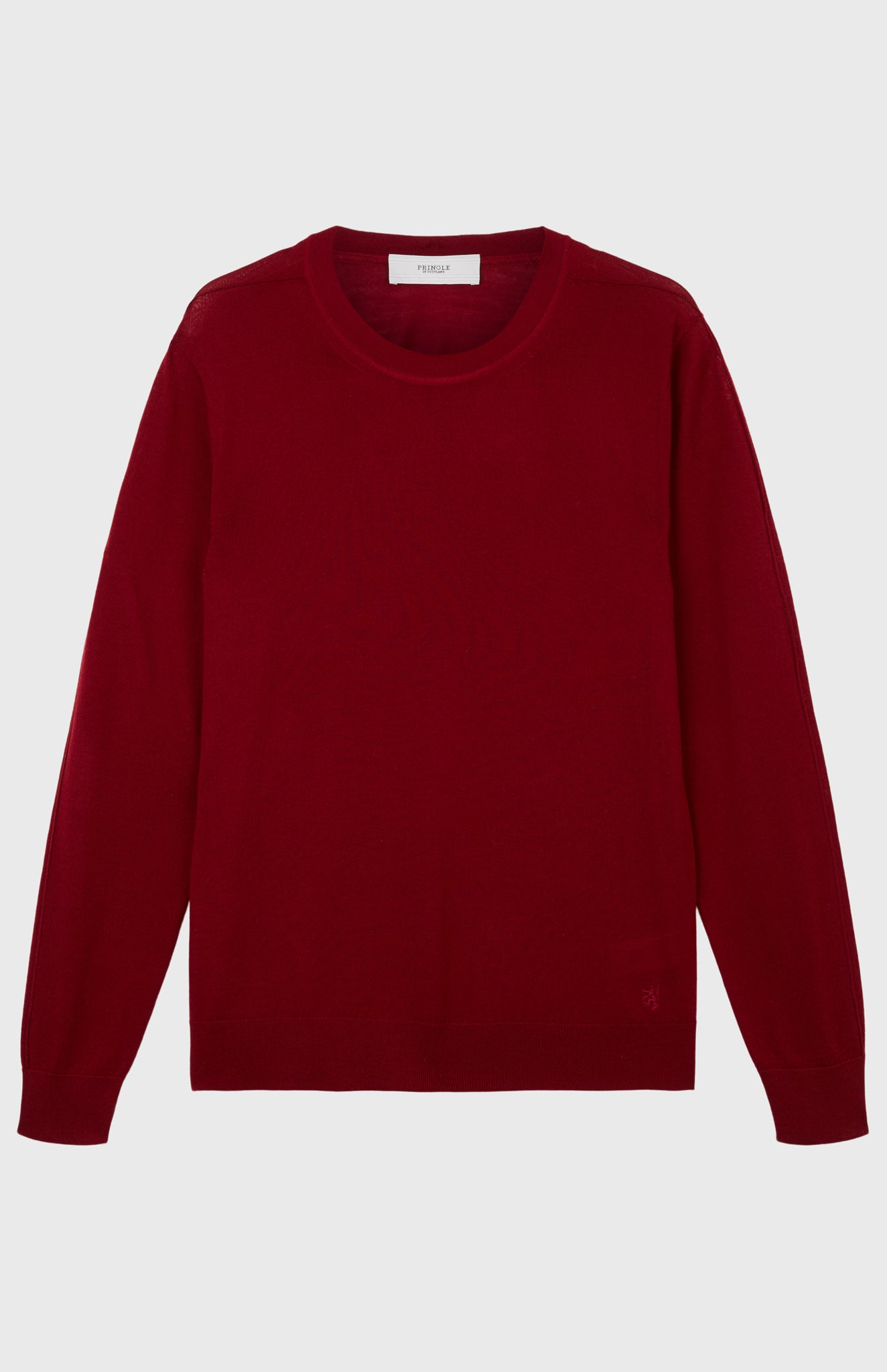 Men's Round Neck Merino Wool Jumper In Deep Red