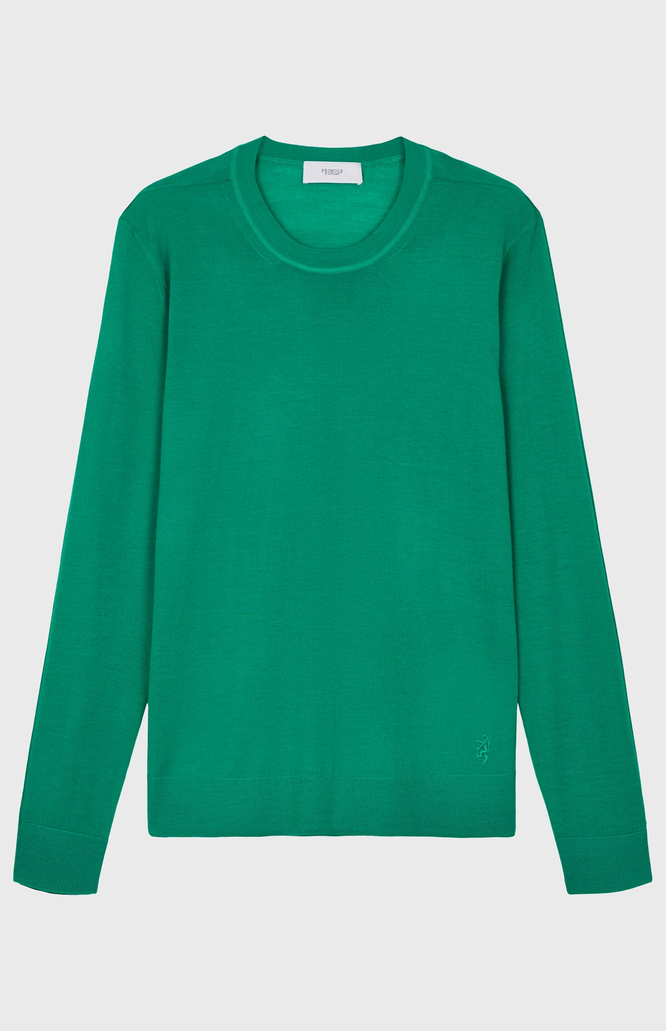 Round Neck Merino Wool Jumper In Grass