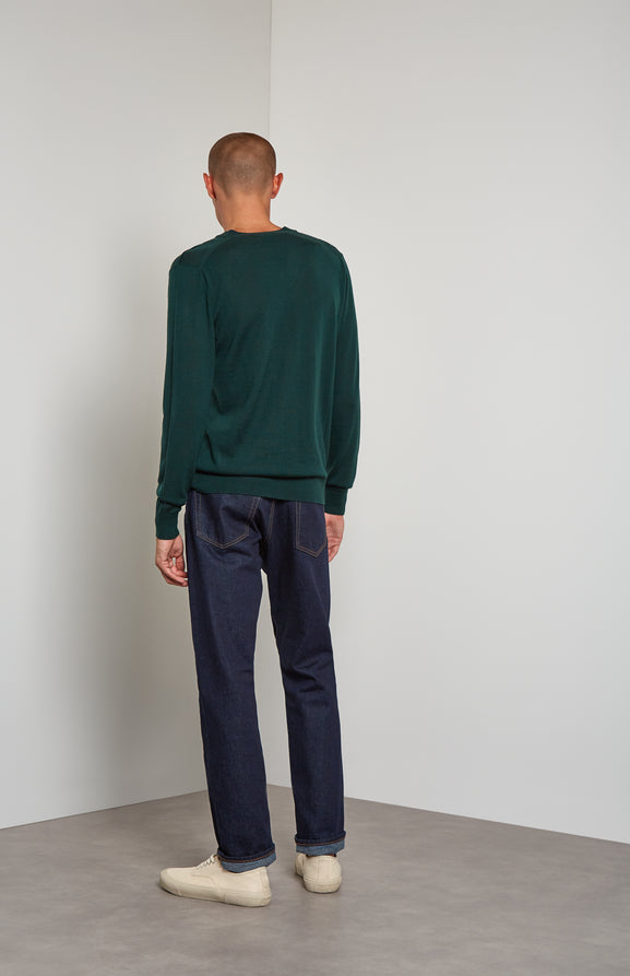 Men's V-neck Merino Wool Jumper In Evergreen