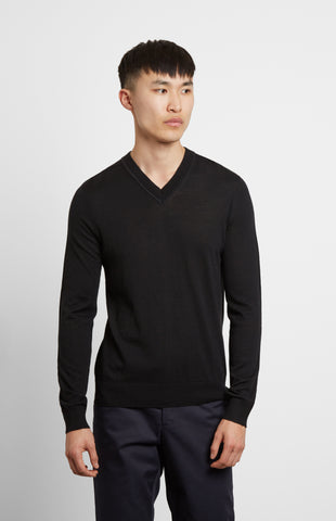 V-neck Merino Wool Jumper In Black