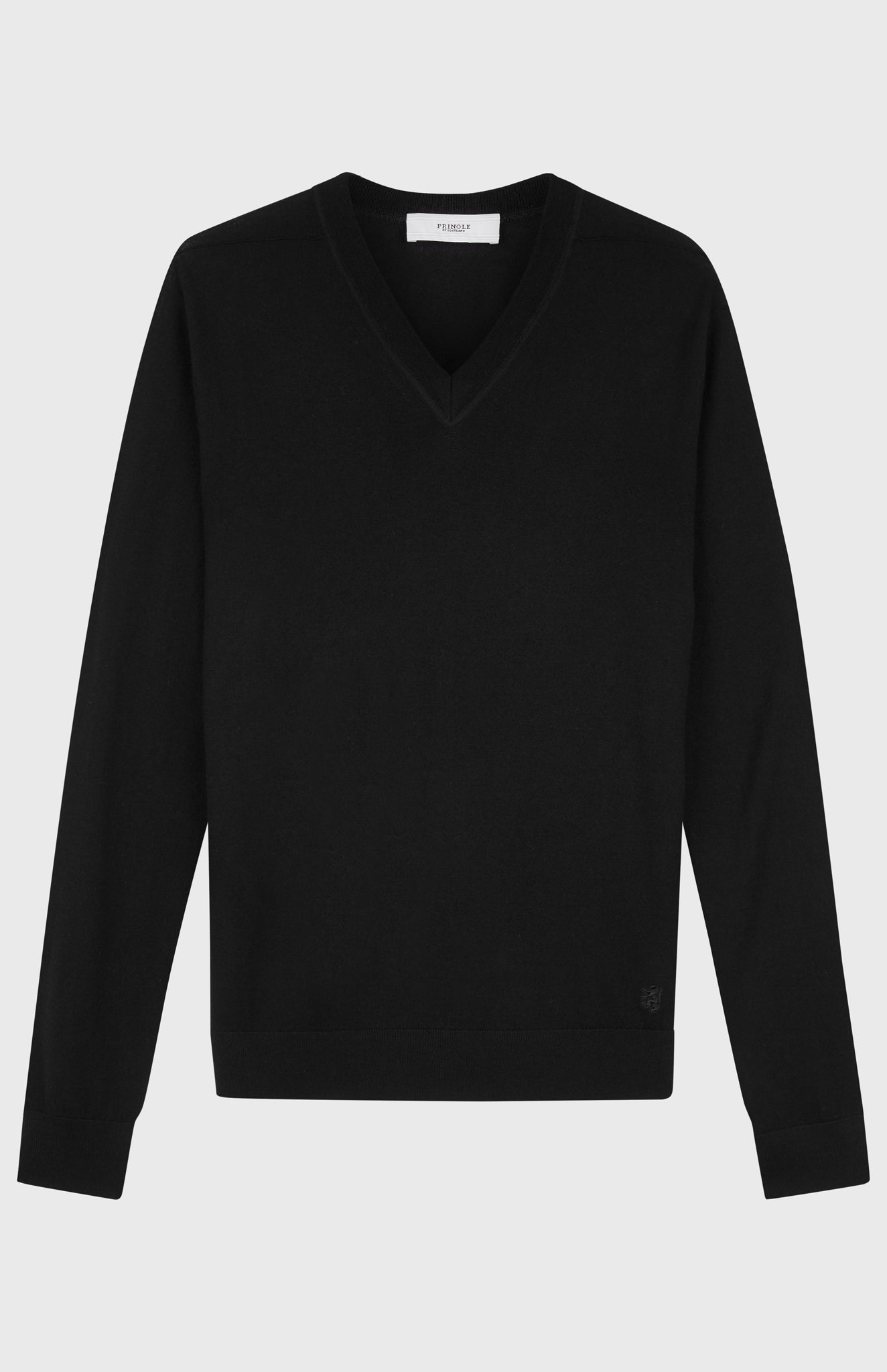 Men's V-neck Merino Wool Jumper In Black