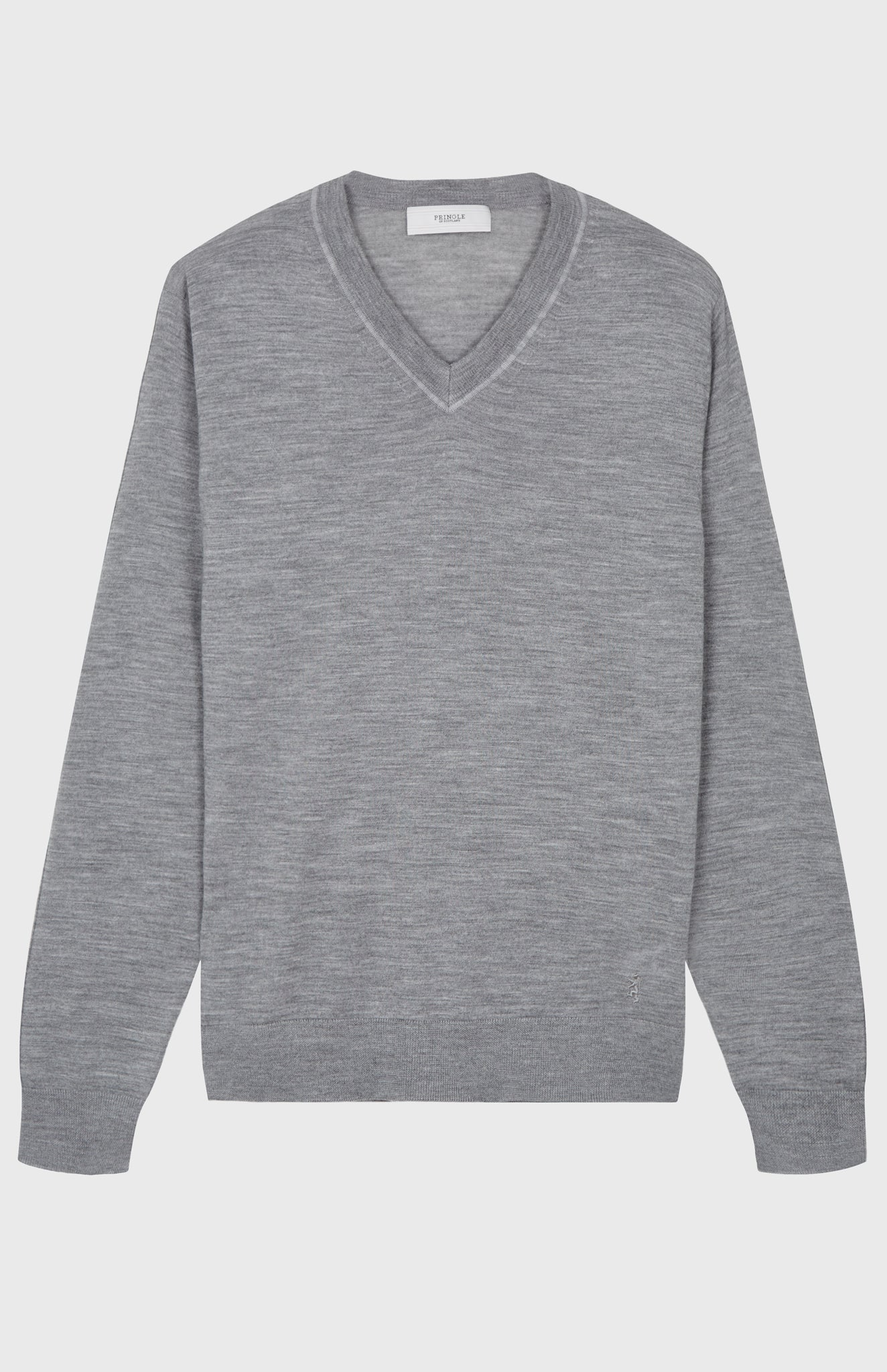 V Neck Merino Wool Jumper In Flannel Grey