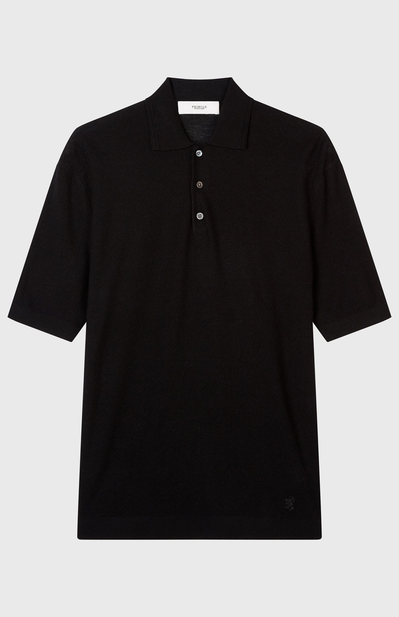 Merino Wool Polo Shirt In Black