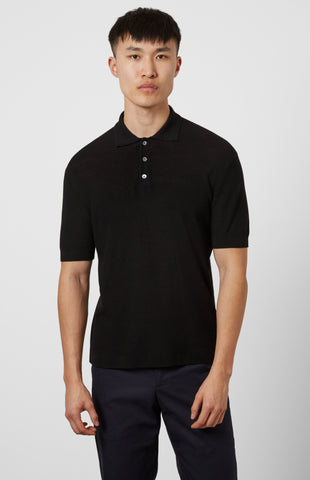 Merino Polo Shirt In Black