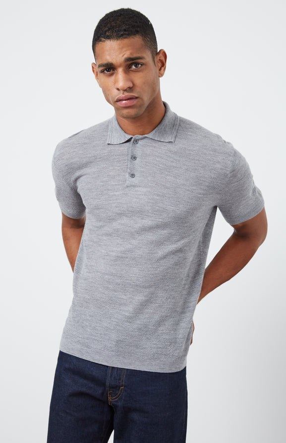 Merino Wool Polo Shirt In Flannel Grey