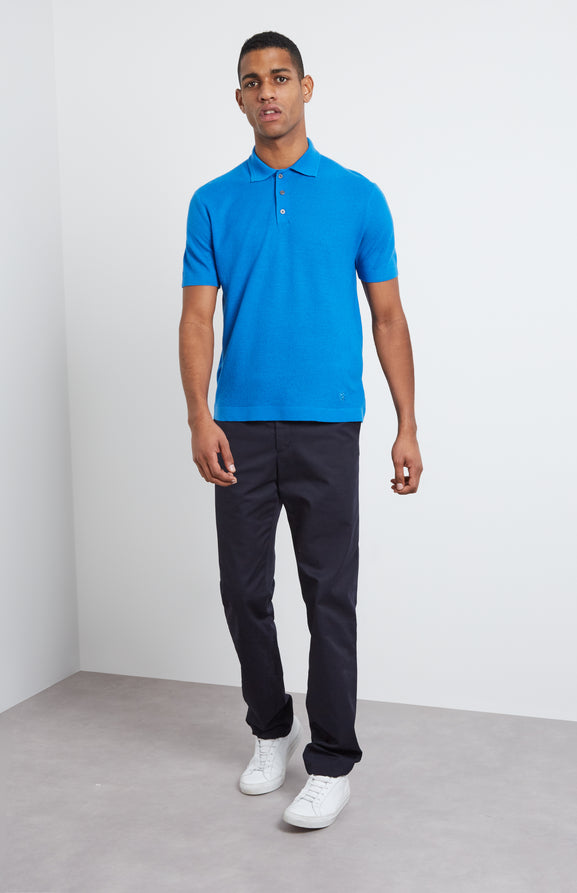 Merino Wool Polo Shirt In Cobalt Blue
