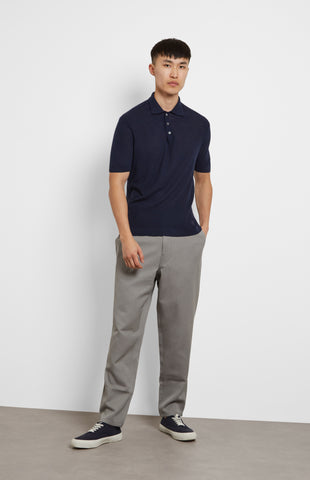 Merino Polo Shirt In Navy