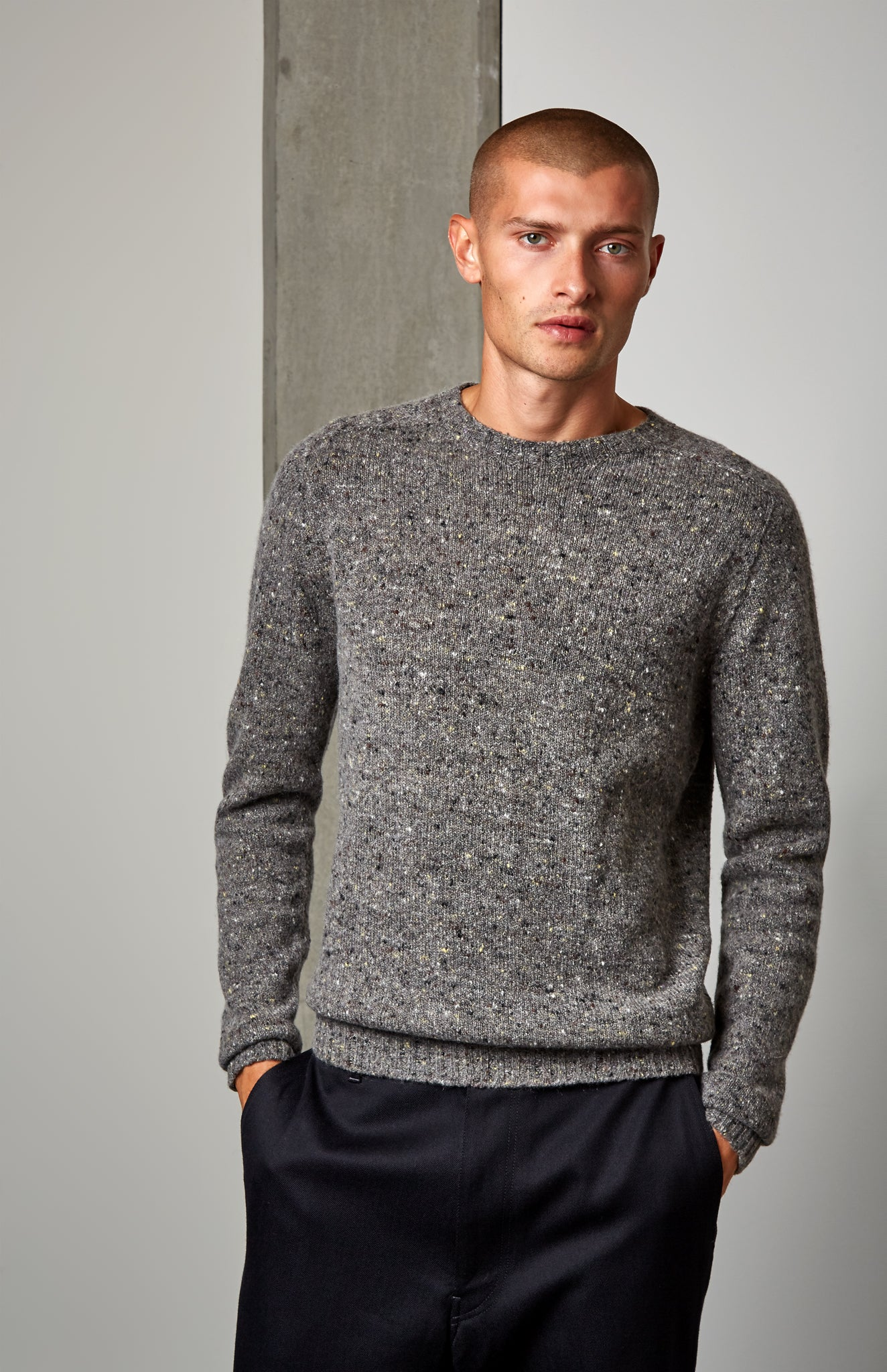 Casual Round Neck Jumper In Flannel Grey