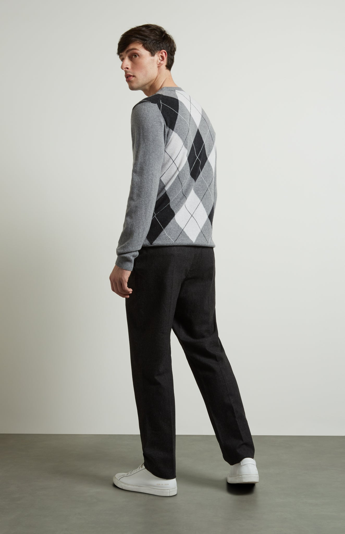 Round Neck Argyle Jumper In Flannel Grey/Charcoal
