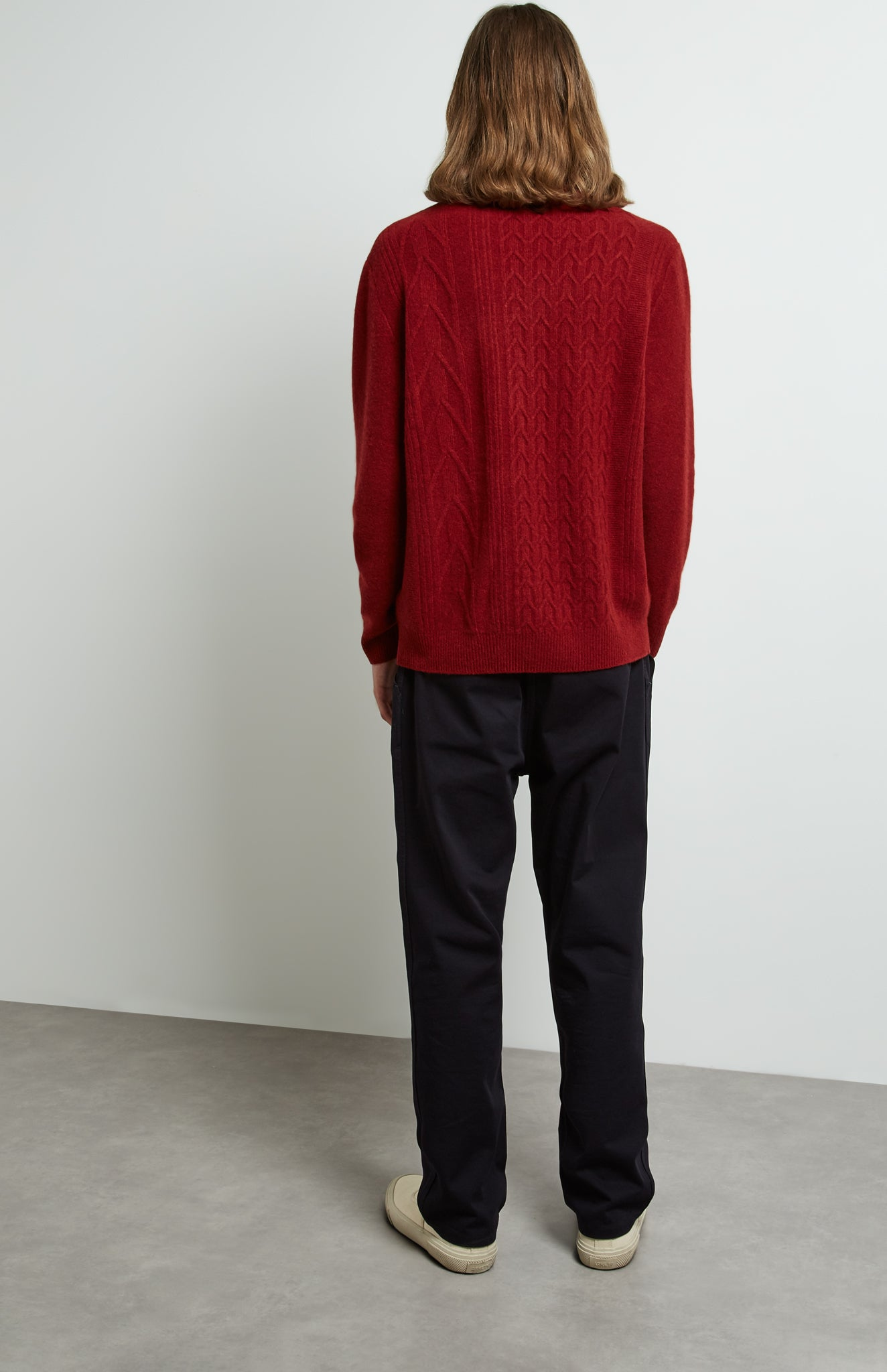 Round Neck Cable Knit Jumper in Deep Red