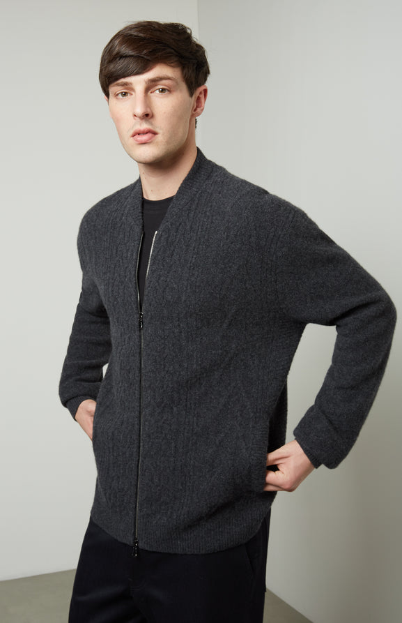 Zipped Cable Knit Cardigan In Charcoal